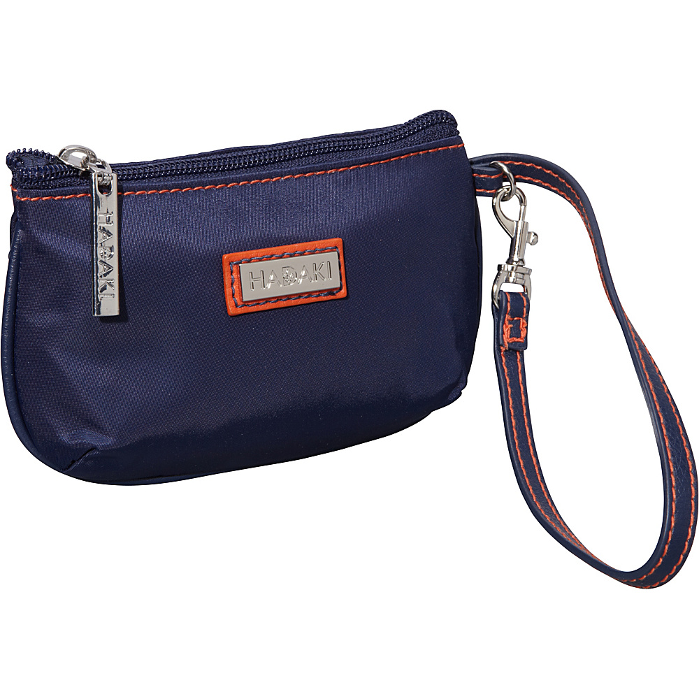 Hadaki Nylon ID Wristlet Navy/Orange - Hadaki Fabric Handbags