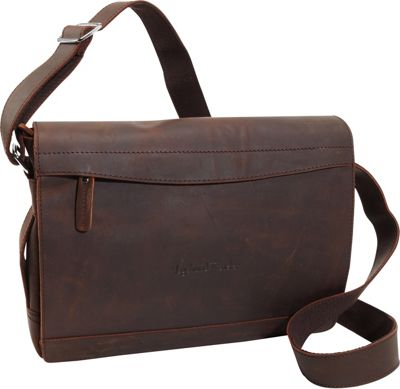 Vagabond Traveler Signature Oil Tanned Leather Messenger Dark Brown - Vagabond Traveler Messenger Bags