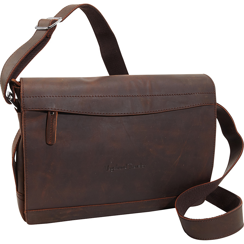 Vagabond Traveler Signature Oil Tanned Leather Messenger Dark Brown - Vagabond Traveler Messenger Bags - Work Bags & Briefcases, Messenger Bags