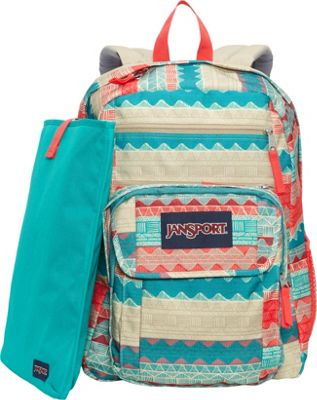 JanSport Digital Student Laptop Backpack Malt Tan Boho Stripe - JanSport Business & Laptop Backpacks