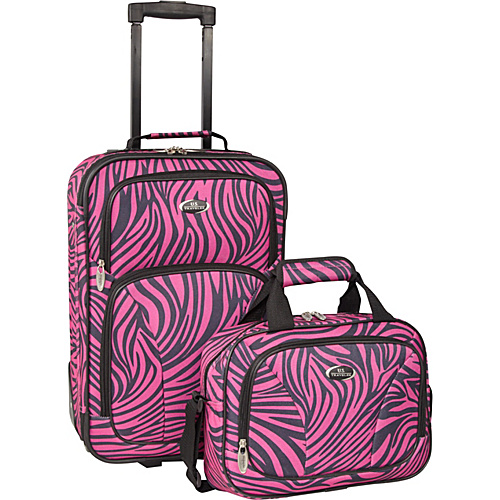 U.S. Traveler Fashion Zebra 2 Piece Carry-On Luggage Set Pink Zebra - U.S. Traveler Luggage Sets
