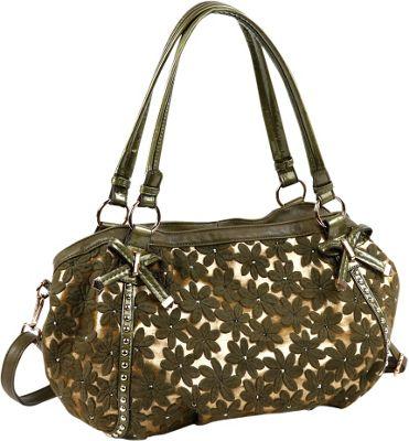Nicole Lee Avelina Floral Contrast Large Shoulder Bag Green - Nicole Lee Manmade Handbags