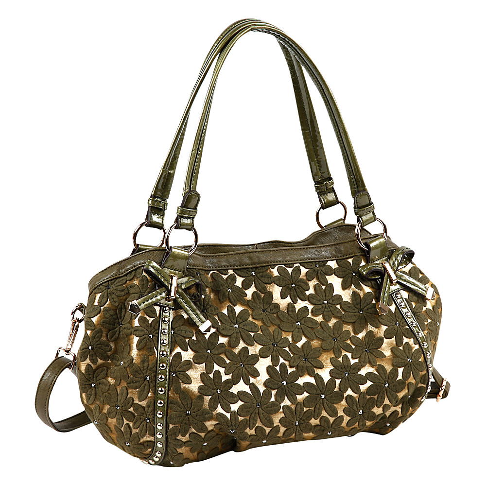 Nicole Lee Avelina Floral Contrast Large Shoulder Bag Green Nicole Lee Manmade Handbags