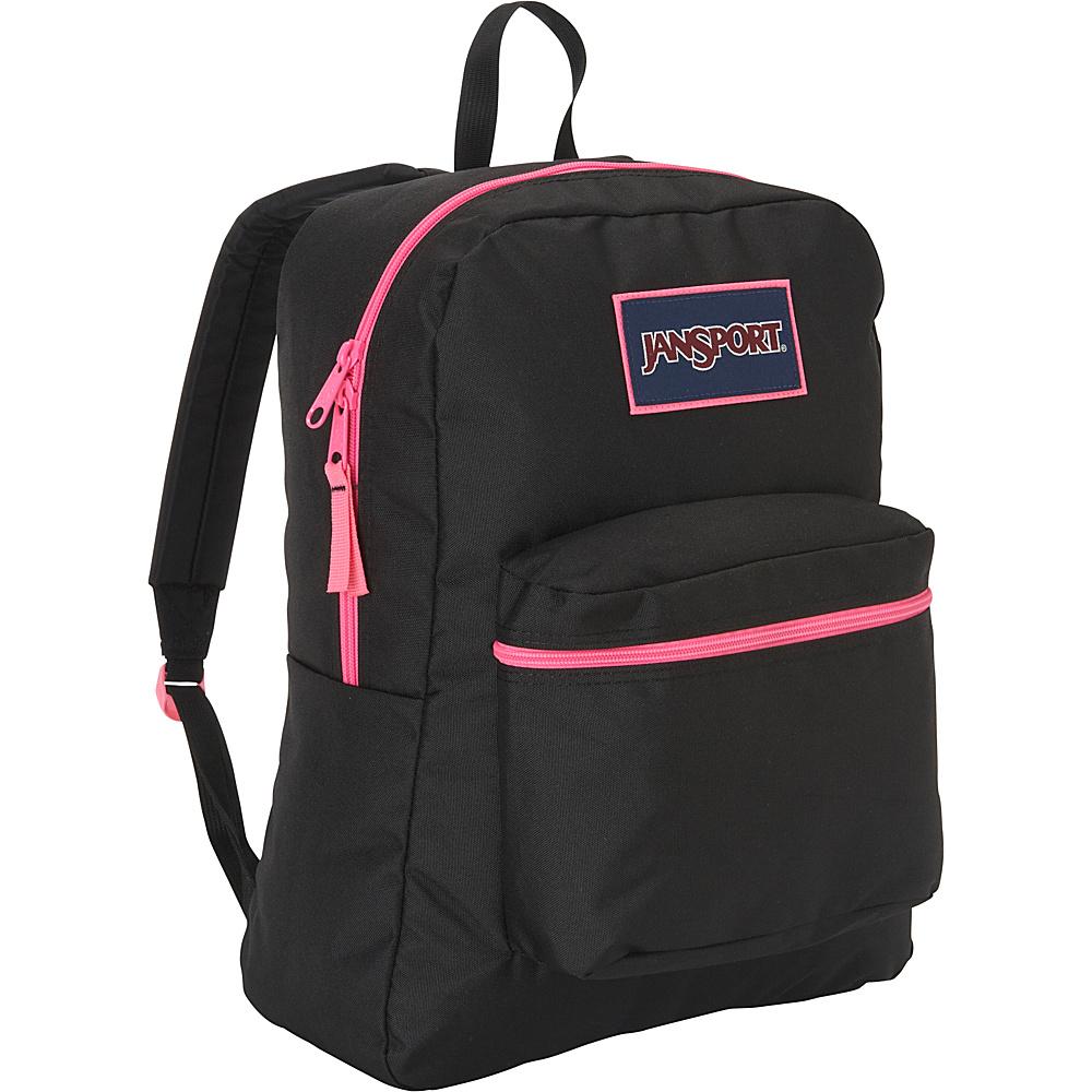 JanSport Overexposed Backpack Black/ Fluorescent Pink - JanSport School & Day Hiking Backpacks - Backpacks, School & Day Hiking Backpacks