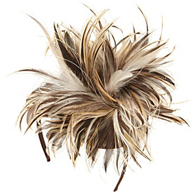 Multi Color Feather Fascinator Headband Brown