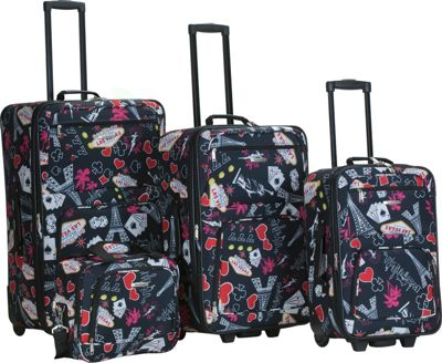 Rockland Luggage Vegas 4 Piece Printed Luggage Set Vegas - Rockland Luggage Luggage Sets