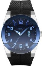 Relic Men's  inchJake inch Strap w/ Blue Crystal Black PU Strap - Relic Watches