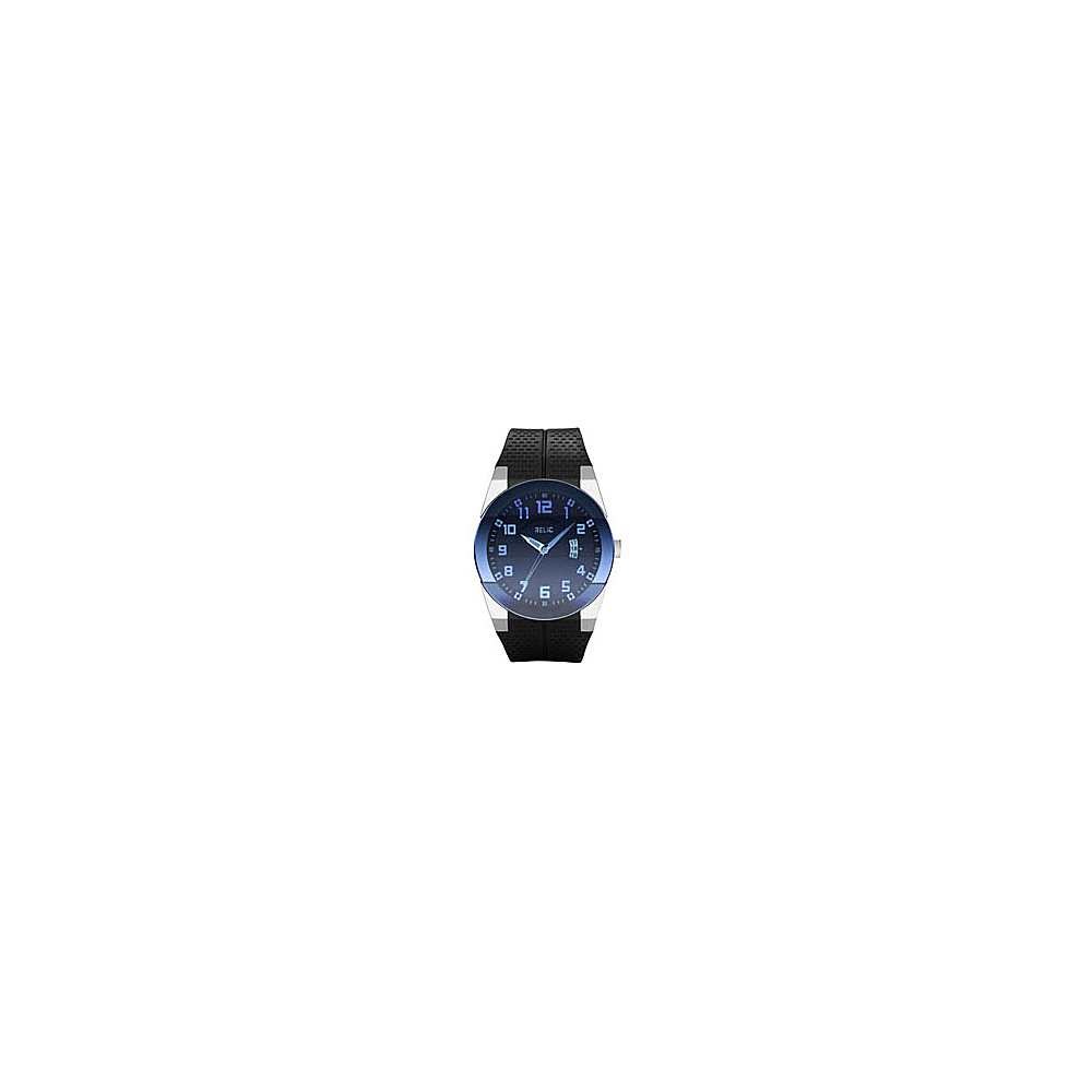 Relic Men s Jake Strap w Blue Crystal Black PU Strap Relic Watches