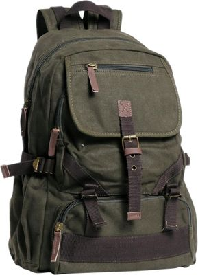 Vagabond Traveler Sport Canvas Backpack Military Green - Vagabond Traveler Everyday Backpacks