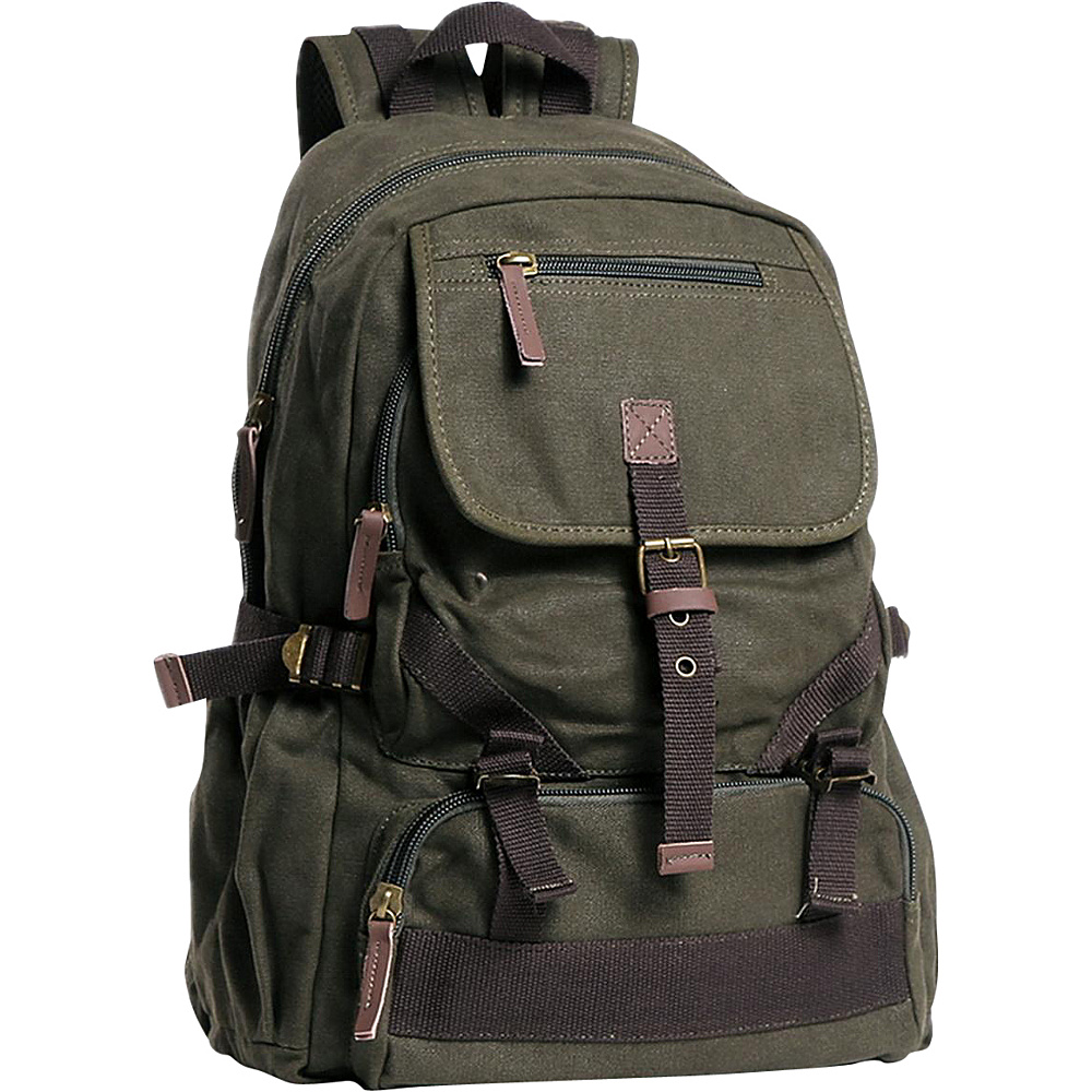 Vagabond Traveler Sport Canvas Backpack Military Green - Vagabond Traveler Everyday Backpacks - Backpacks, Everyday Backpacks