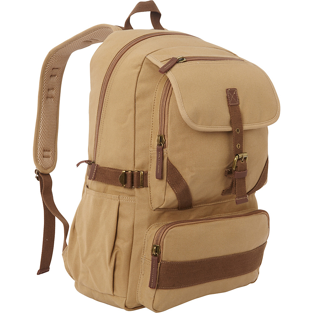 Vagabond Traveler Sport Canvas Backpack Khaki - Vagabond Traveler Everyday Backpacks - Backpacks, Everyday Backpacks