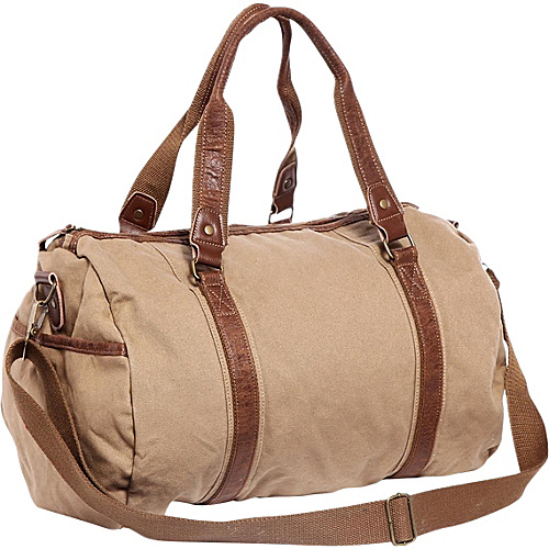 Vagabond Traveler Large Canvas Shoulder Travel Bag Khaki - Vagabond Traveler Men's Bags