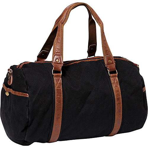 Vagabond Traveler Large Canvas Shoulder Travel Bag Black - Vagabond Traveler Men's Bags