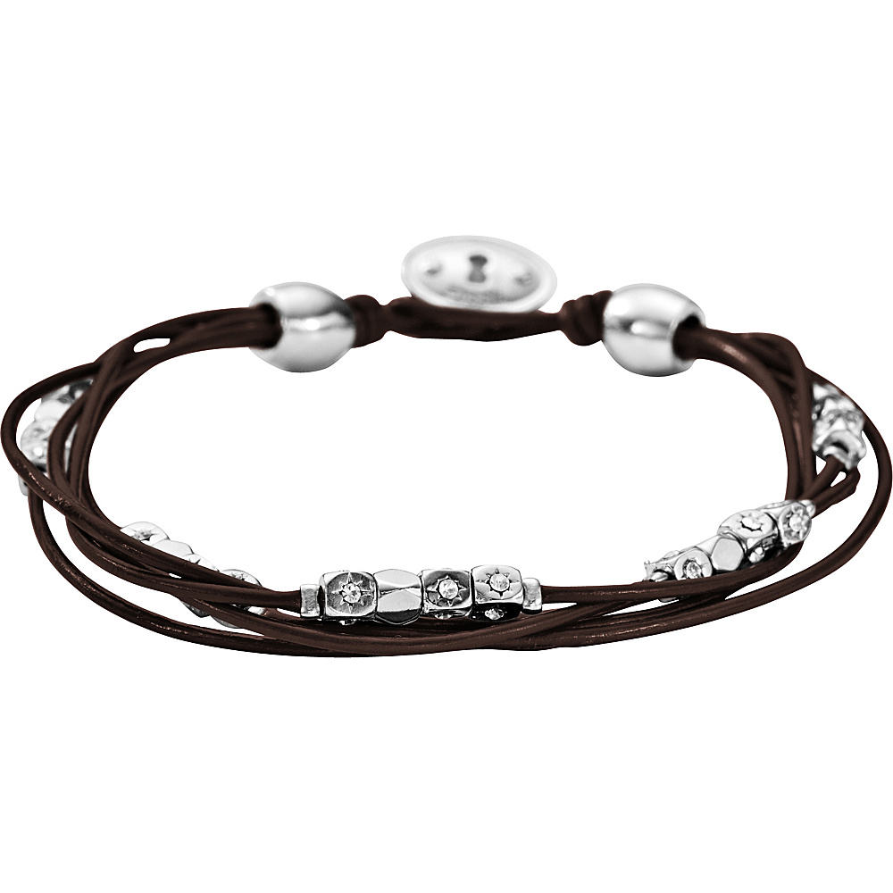 Fossil Vintage Iconic Leather Bracelet Silver with Brown - Fossil Other Fashion Accessories - Fashion Accessories, Other Fashion Accessories