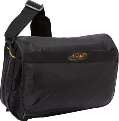 A. Saks A. Saks Expandable Messenger Bag Black - A. Saks Messenger Bags
