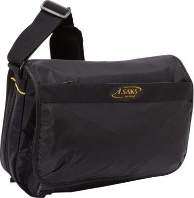 Image of A. Saks Expandable Messenger Bag Black - A. Saks Messenger Bags