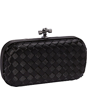 Woven Satin Clutch Black
