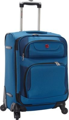 SwissGear Travel Gear Expandable Spinner Luggage - 20 inch Blue with Black - SwissGear Travel Gear Softside Carry-On