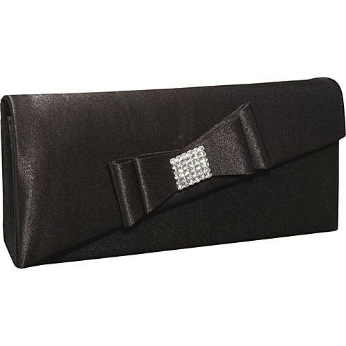 Magid Satin Bow Rhinestone Evening Clutch Black - Magid Evening Bags