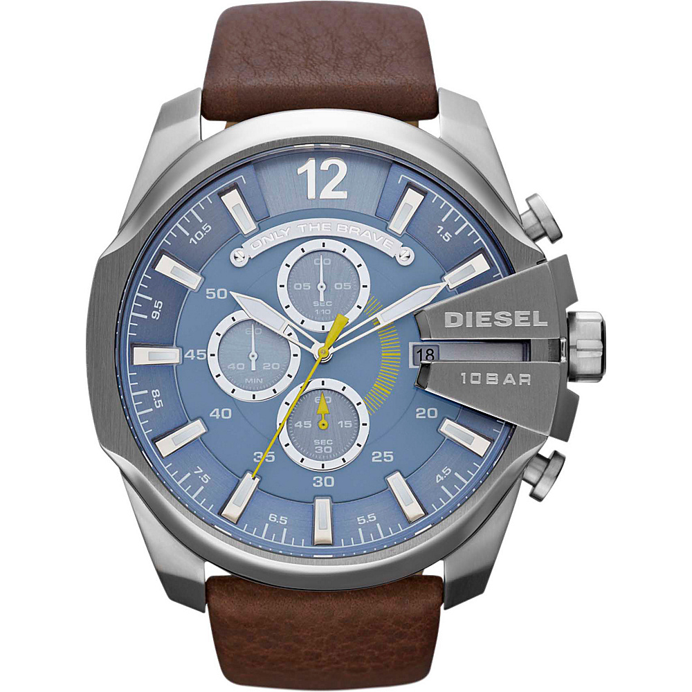 Diesel Watches Mega Chief Dark Brown/Silver/Blue Dial - Diesel Watches Watches