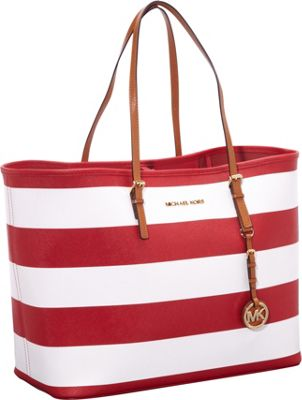 MICHAEL Michael Kors Jet Set Travel Stripe Med Tote Red/White - MICHAEL Michael Kors Designer Handbags