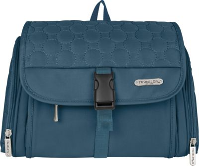 Travelon Hanging Toiletry Kit - Quilted Steel Blue Quilted - Travelon Toiletry Kits
