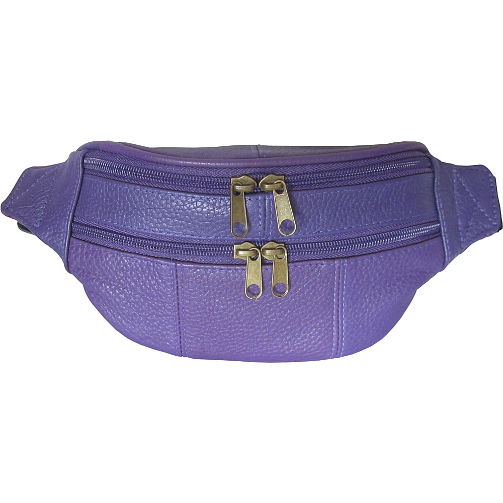 AmeriLeather Leather Fanny Pack Purple - AmeriLeather Waist Packs - Backpacks, Waist Packs