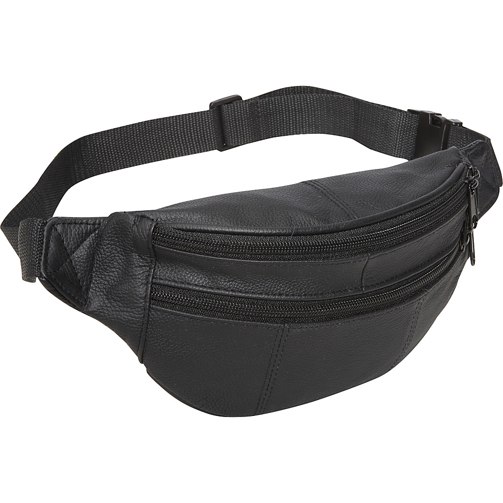 AmeriLeather Leather Fanny Pack Black - AmeriLeather Waist Packs - Backpacks, Waist Packs