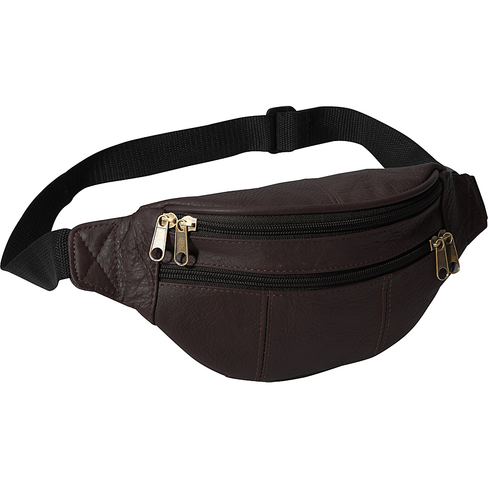 AmeriLeather Leather Fanny Pack Burgundy - AmeriLeather Waist Packs - Backpacks, Waist Packs