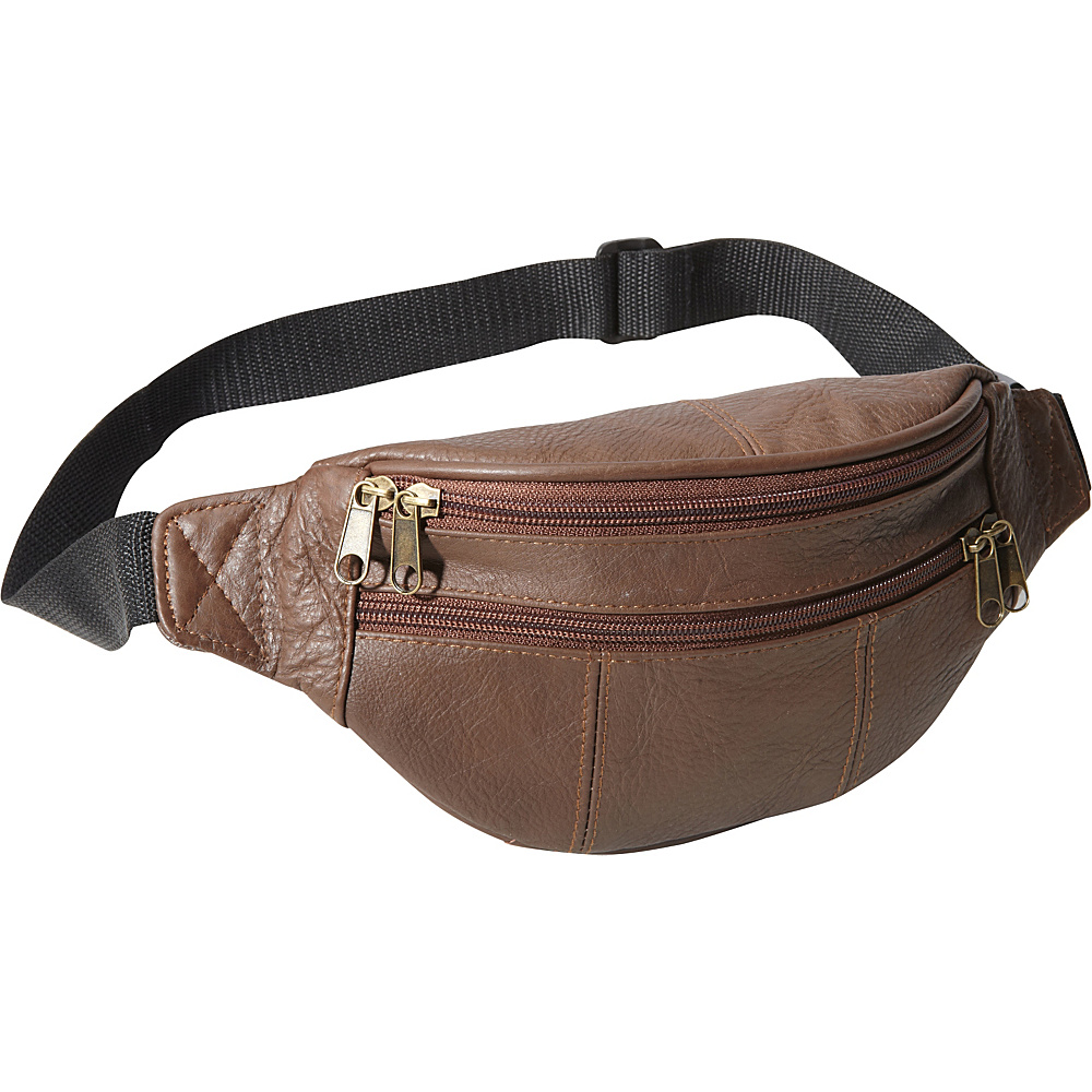 AmeriLeather Leather Fanny Pack Chocolate Brown - AmeriLeather Waist Packs - Backpacks, Waist Packs