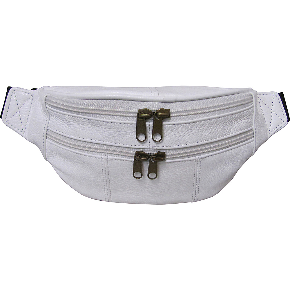 AmeriLeather Leather Fanny Pack White - AmeriLeather Waist Packs - Backpacks, Waist Packs