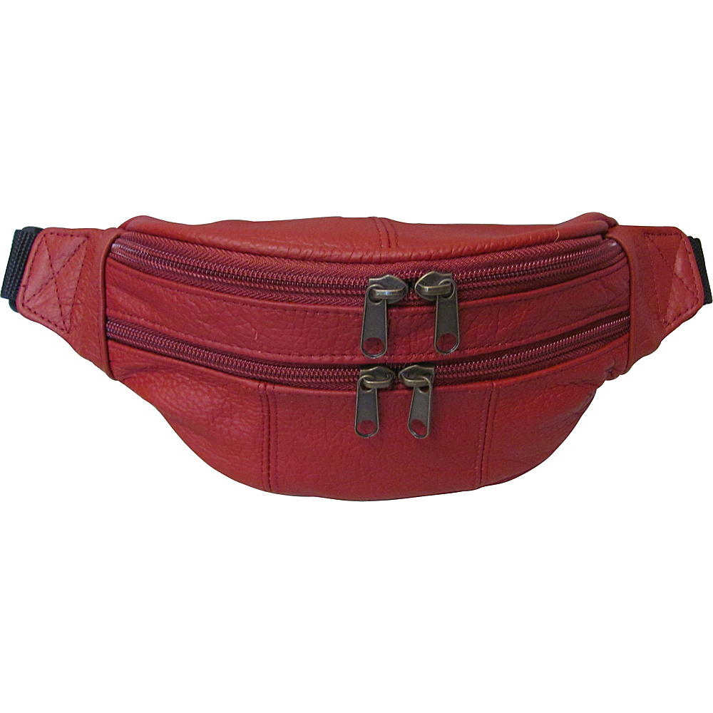 AmeriLeather Leather Fanny Pack Red - AmeriLeather Waist Packs - Backpacks, Waist Packs