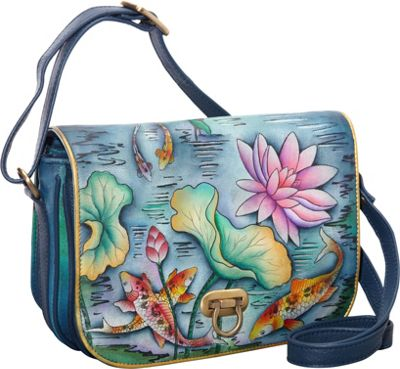 Anuschka Classic Flap Over Accordion Karmic Koi - Anuschka Leather Handbags
