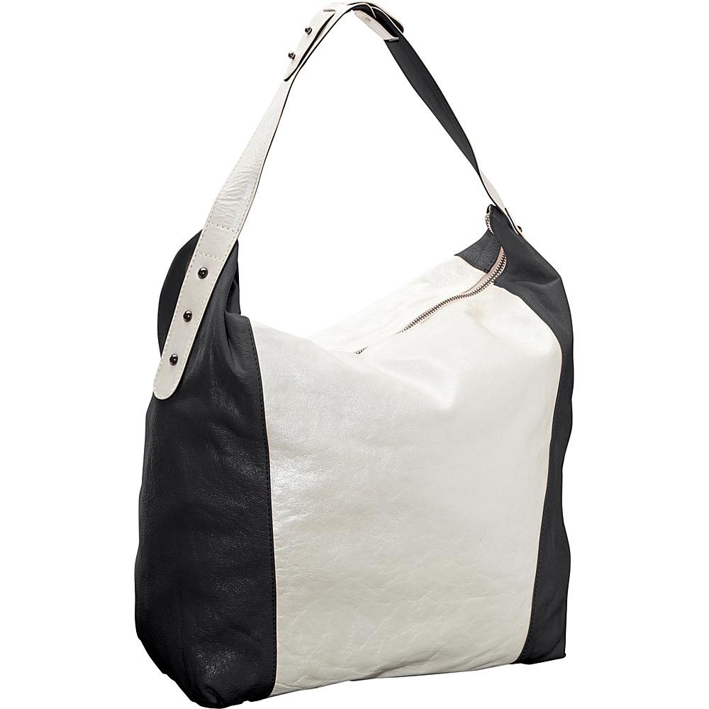 Latico Leathers Samantha Hobo Metallic White Black - Latico Leathers Leather Handbags