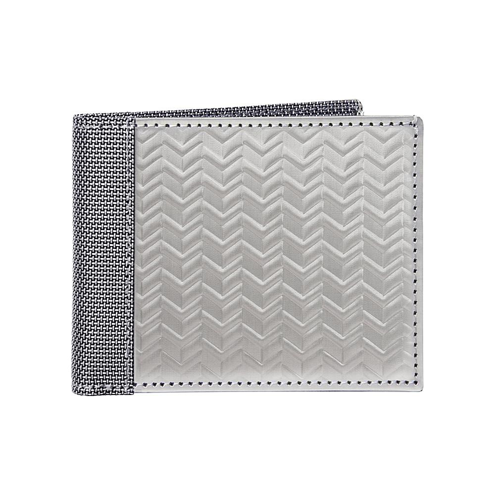 Stewart Stand Herringbone Texture Bill Fold Stainless Steel Wallet RFID Silver Grey Mesh Stewart Stand Men s Wallets