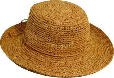 Scala Hats Dyed Crochet Raffia w/ Drawstring One Size - Tea - Scala Hats Hats/Gloves/Scarves