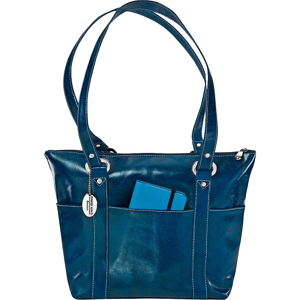 David King Co. Florentine 6 Pocket Shopper Blue David King Co. Leather Handbags