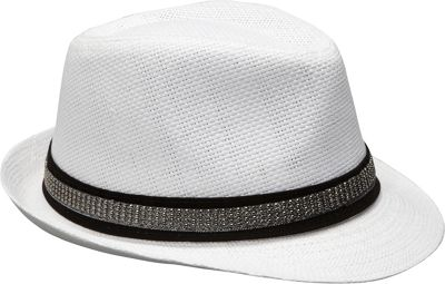 Magid Studded Band Paper Straw Fedora One Size - White - Magid Hats/Gloves/Scarves