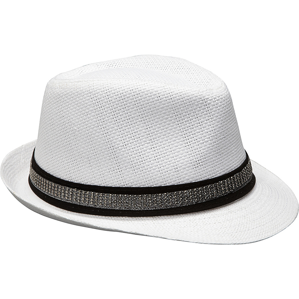 Magid Studded Band Paper Straw Fedora White Magid Hats Gloves Scarves