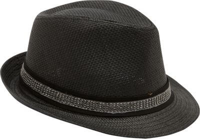 Magid Studded Band Paper Straw Fedora One Size - Black - Magid Hats/Gloves/Scarves