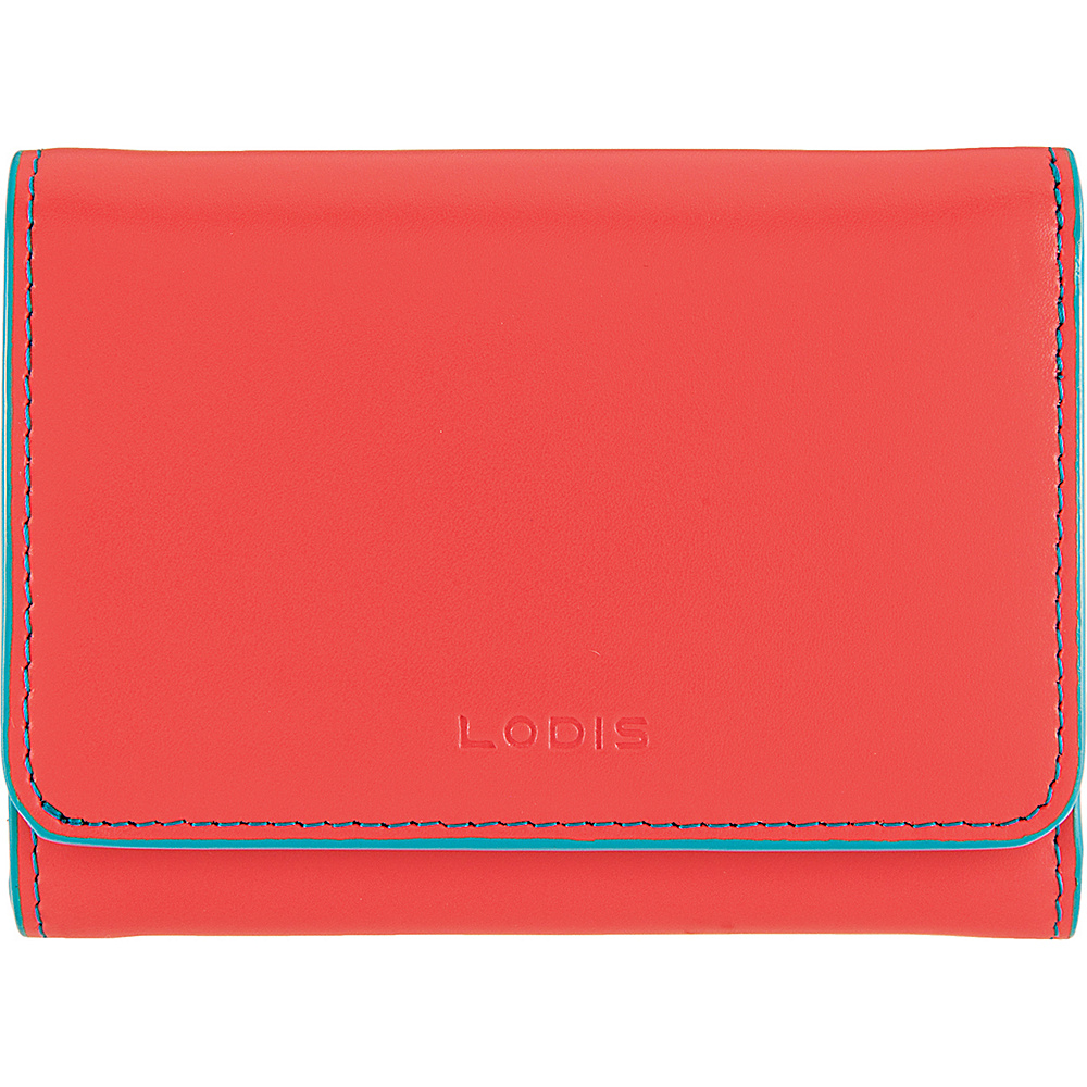 Lodis Audrey Mallory French Wallet Coral/Turquoise - Lodis Womens Wallets - Women's SLG, Women's Wallets