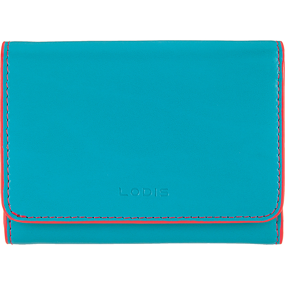 Lodis Audrey Mallory French Wallet Turquoise/Coral - Lodis Womens Wallets - Women's SLG, Women's Wallets