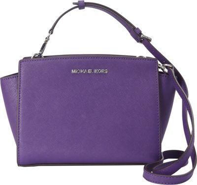 MICHAEL Michael Kors Selma Medium Messenger Crossbody Bag Grape - MICHAEL Michael Kors Designer Handbags