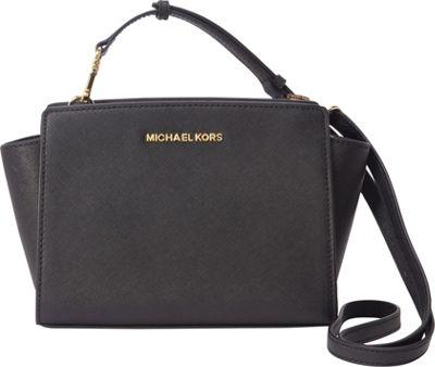 MICHAEL Michael Kors Selma Medium Messenger Crossbody Bag Black - MICHAEL Michael Kors Designer Handbags