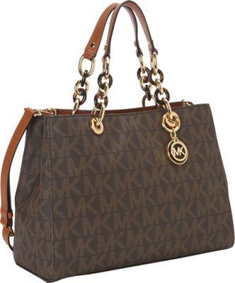 MICHAEL Michael Kors Cynthia  Medium Satchel Brown - MICHAEL Michael Kors Designer Handbags