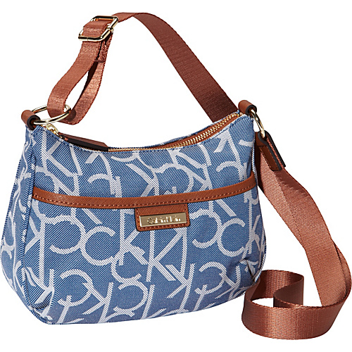 Calvin Klein Hudson Jacquard Crossbody Denim Twill/Luggage Saffiano - Calvin Klein Fabric Handbags