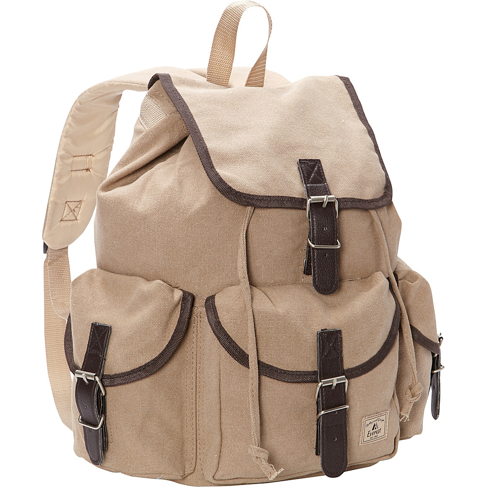 Everest Canvas Rucksack Khaki Everest Everyday Backpacks