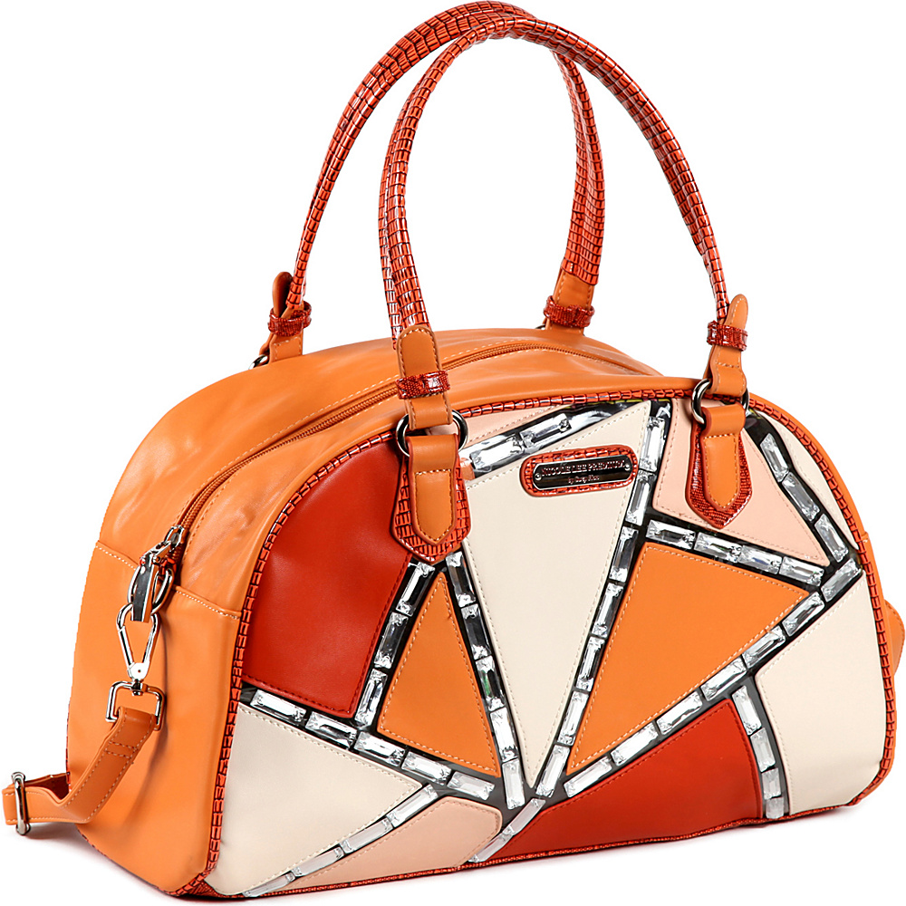 Nicole Lee Ventura Geometric Boston Bag ORANGE Nicole Lee Manmade Handbags