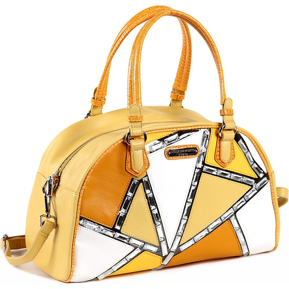 Nicole Lee Ventura Geometric Boston Bag Yellow Nicole Lee Manmade Handbags