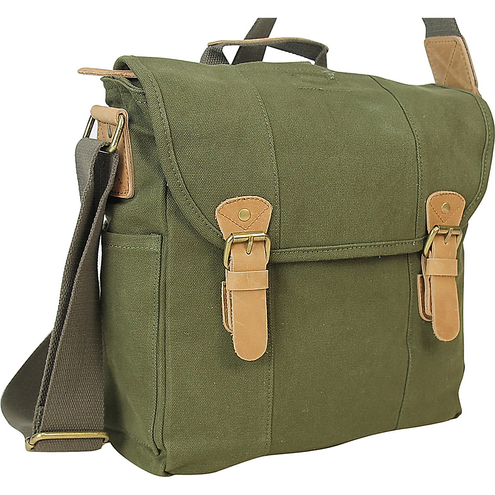 Vagabond Traveler Vertical Canvas Satchel Bag Military Green - Vagabond Traveler Other Mens Bags - Work Bags & Briefcases, Other Men's Bags